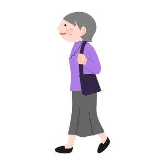 A woman walking (Grandma)
