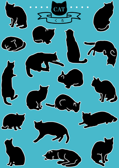 Cats (pop · black) 18 pose