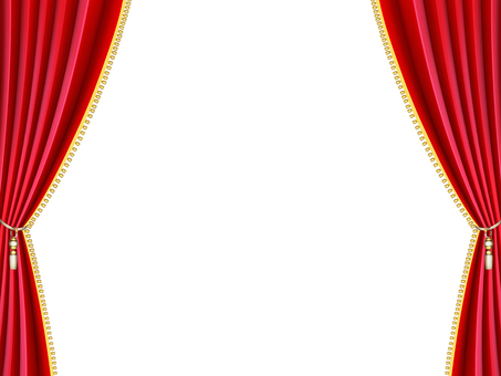 Stage red curtain side, wallpaper, frame