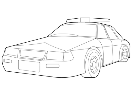 Police car black and white line drawing (coloring book)