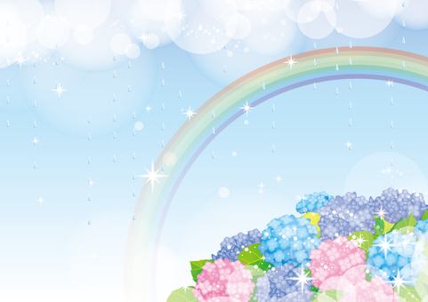 Rain and rainbow and hydrangea frame