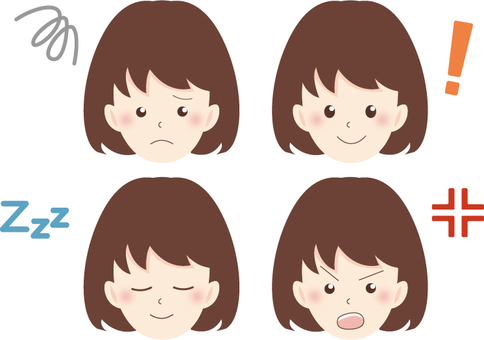 Female facial expression 4 sets