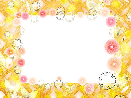Japanese Pattern Gold Frame