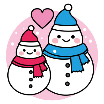 雪だるまのカップルとハート