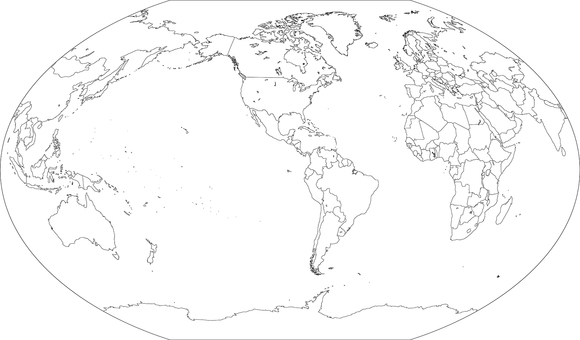 World map-Winkel projection ame-Border
