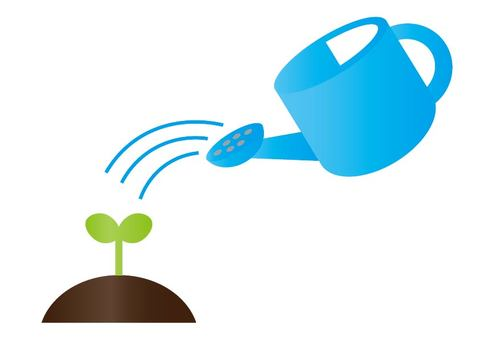 Watering can and bud