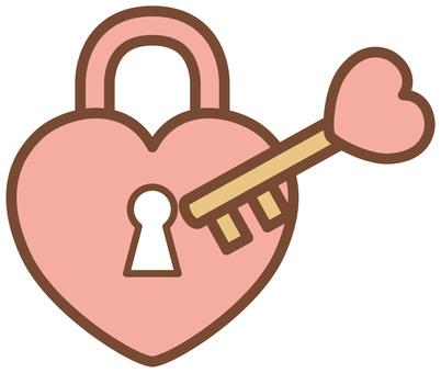 Heart's padlock and key