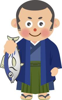 Kimono man with fish (shaved head)