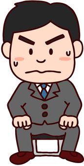 Illustration of a nervous man