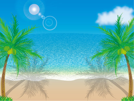 Blue sky, sea, sandy beach and palm tree