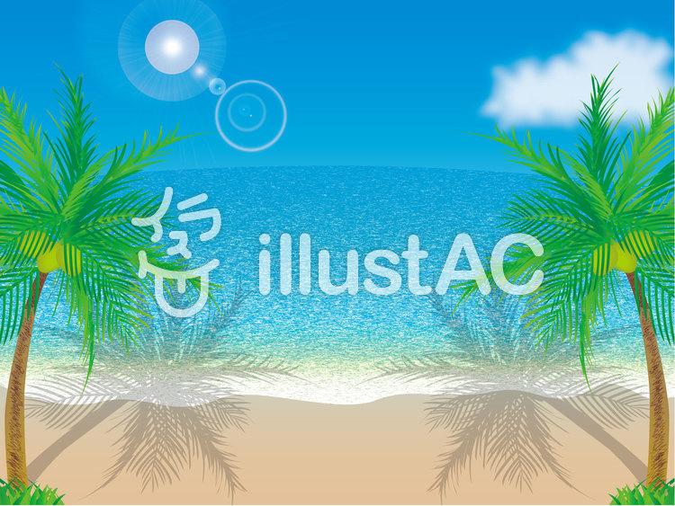 青空と海と砂浜とヤシの木