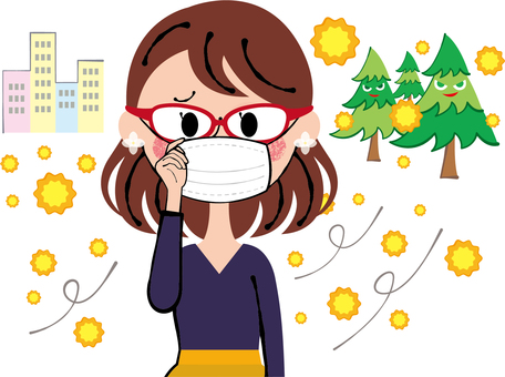 A woman who prevents pollinosis with eyeglasses and a three-dimensional mask