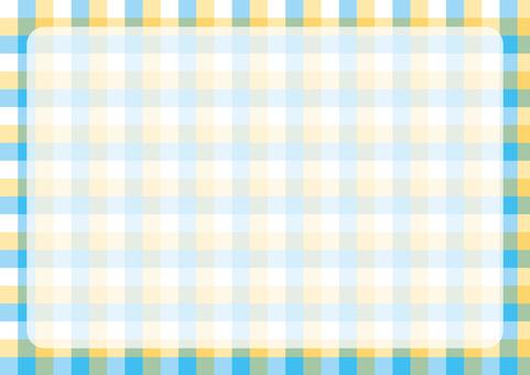 깅엄 체크 프레임 노란색 × 하늘색