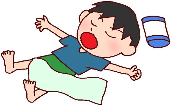 Illustration of a boy taking a nap