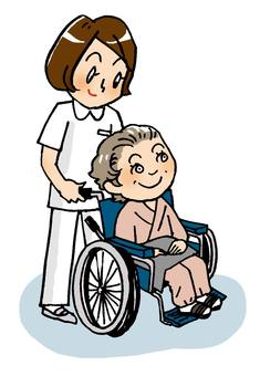 Nurse and wheelchair
