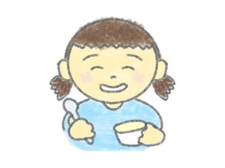 クレヨン画_女の子_アイス食べる_1