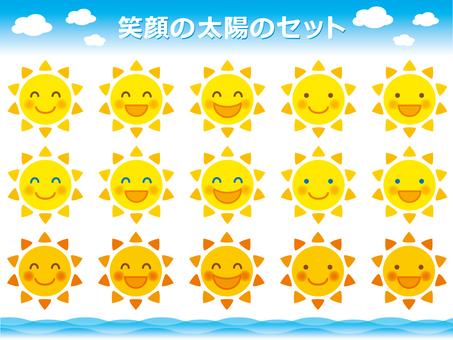 Illustration set of laughing sun
