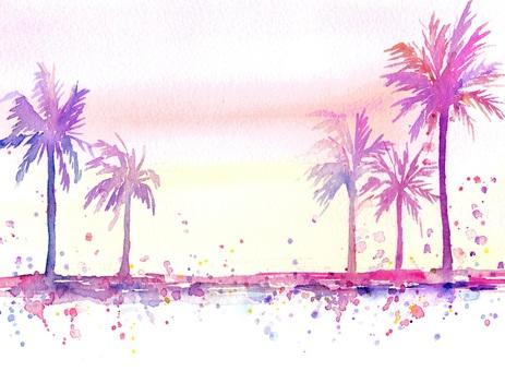 Watercolor art Palm tree scenery