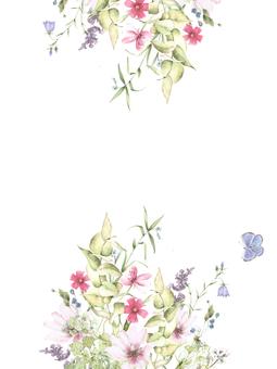 Flower frame 229 - Vertical flower frame with small flowers Frame frame