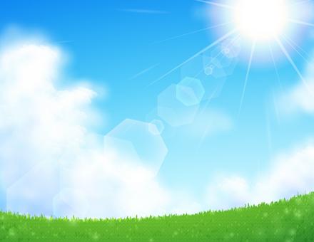 초원과 태양의 풍경