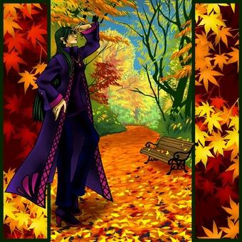 在秋天綠樹成蔭的街道3