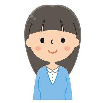 Cute lady's illustration / smile / upper body