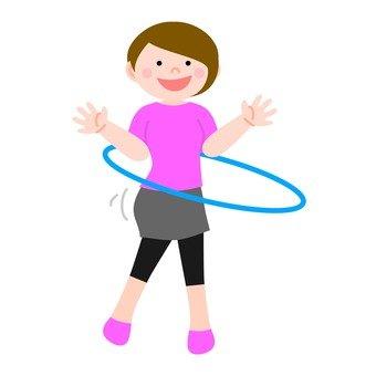 Women turning hula hoop 3
