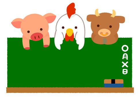 Pork chicken cattle and blackboard