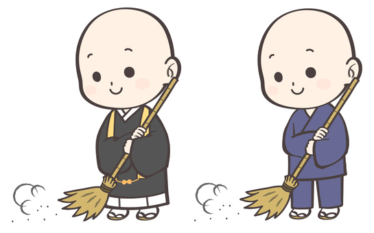 Illustration of a monk who cleanses
