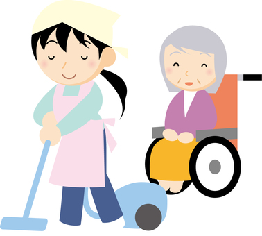 Elderly woman with helper to clean
