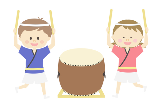 Children playing with drums (Hachimaki)