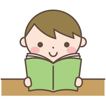 Boys 5 Reading a reading manga book