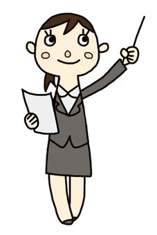 Female employee with document and instruction stick · whole body