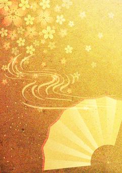 Sakura and fan _ gold leaf _ vertical type 2214