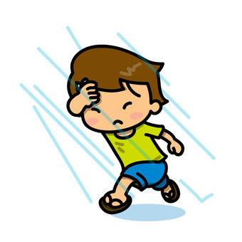 Boy suddenly stopped by rain