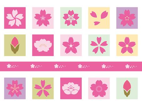 Family crest style sakura icon set