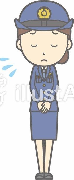 警察官女性a-おじぎ謝罪-全身のイラスト