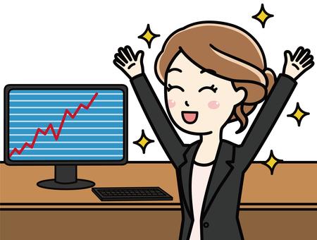 Woman looking at rising chart on personal computer