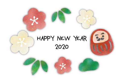 New Year's card 2020 Daruma 3