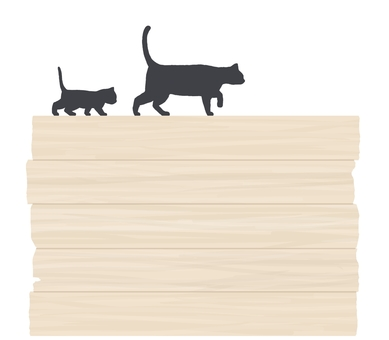 Cat and wood grain frame