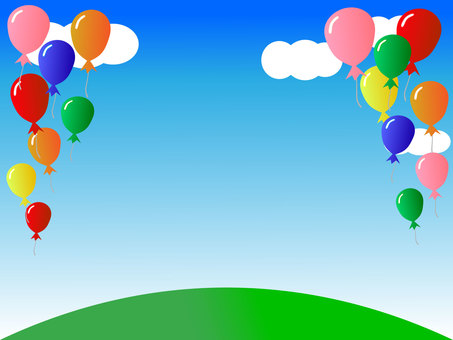 Colorful balloon and blue sky background