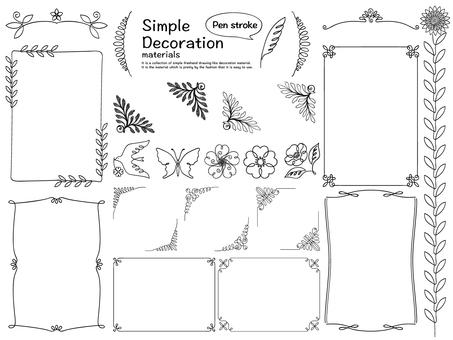 Pen style decorative material set