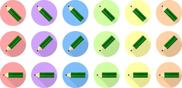 鉛筆(左)的平面插圖集