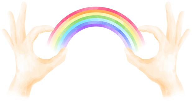 指で虹をつかまえたイメージ