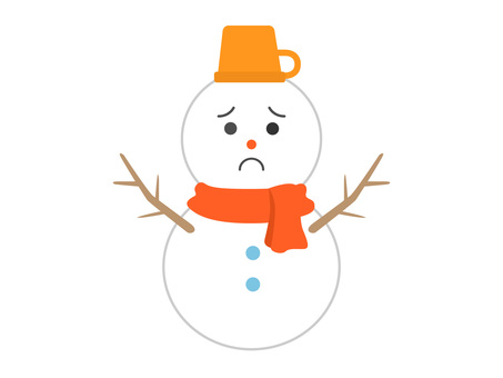 Snowman in troubled face