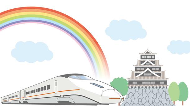 Shinkansen and castle illustration