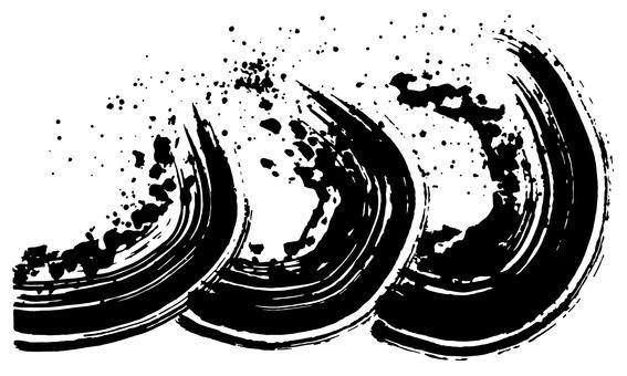 Wave brush illustration calligraphy