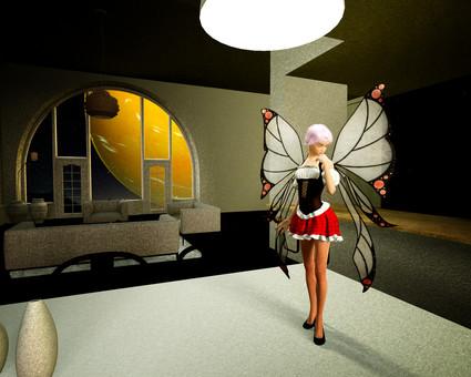 Fairy of living dining at midnight