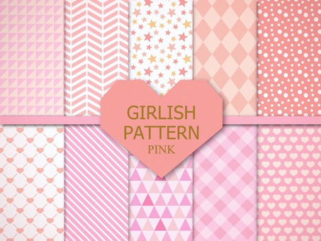 Girly pattern 【pastel pink】