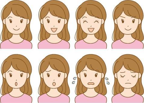 Female 8 facial expression set